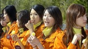 Some of the 26 contestants of the Chinese Miss Cosmos 2007 competition pose near the town of Glovelier in the canton of Jura, Switzerland, Tuesday, 10 October, 2006. They were invited by former Swiss parliamentarian Pierre Kohler and stay for one week in the western part of Switzerland. (KEYSTONE/Sandro Campardo)